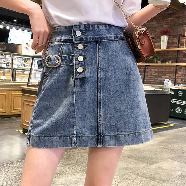 『預購』高腰排釦牛仔短裙