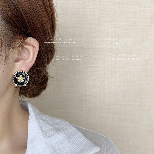 925銀針鍍14K法式滴油山茶花耳環日韓復古港風設計感耳釘耳飾