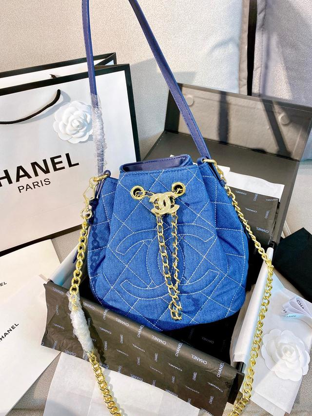 Chanel 丹寧牛仔包 水桶包 全新鏈條 古埃及風 新品 專櫃走秀款