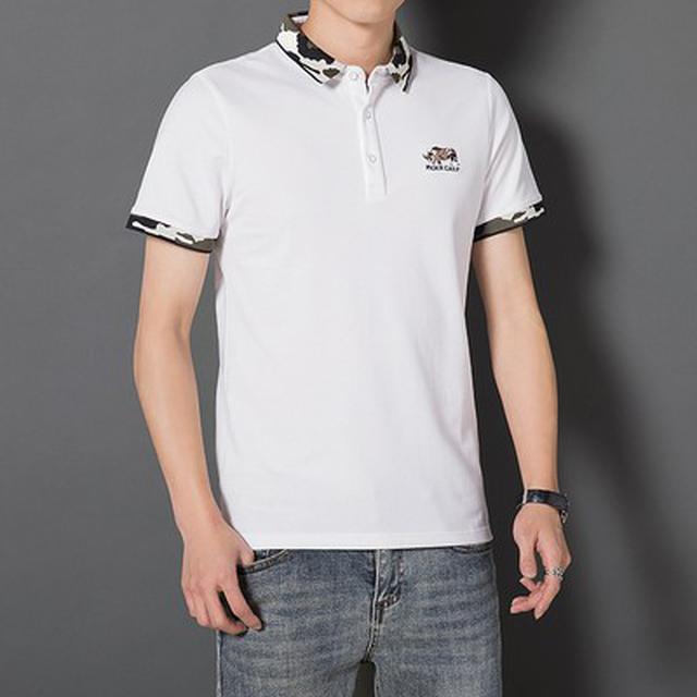 06 S-4XL 優質翻領迷彩拼色T恤(3色)