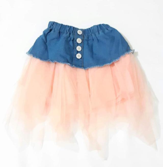 【現貨】兒童牛仔拼接紗裙