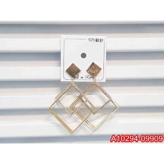 正韓S925純銀 拉絲方形金屬多層閃鑽方框耳環