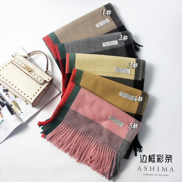2018新款秋冬季彩條仿羊絨圍巾