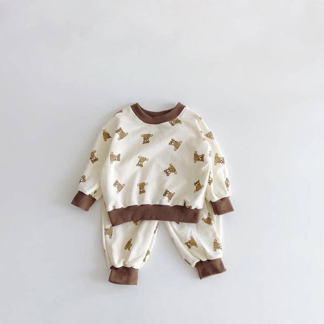 🔹秋季可愛熊熊長袖上衣+褲子兩件套