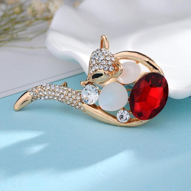 韓飾 紅寶石狐狸晶鑽 胸針 女生配件 現貨
