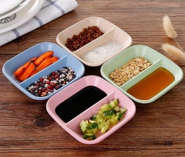 (預購S) G1041 - 小麥無毒雙格調味碟子醬料盤(一組10個)