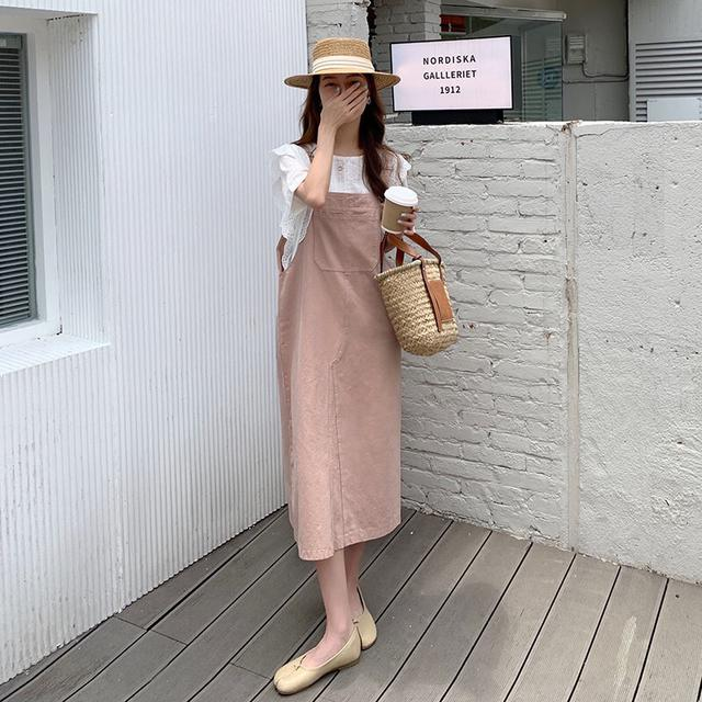 粉色牛仔吊帶裙