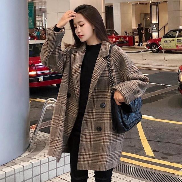 E867韓版格紋西裝外套