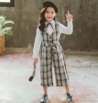 11 110-160 童裝 英倫花邊襯衫+格紋闊腿背帶褲 套裝(2色)9991
