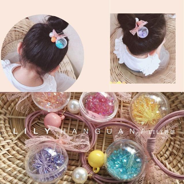 韓國兒童可愛糖果色流沙球/髮繩/皮筋/髮圈(5入)