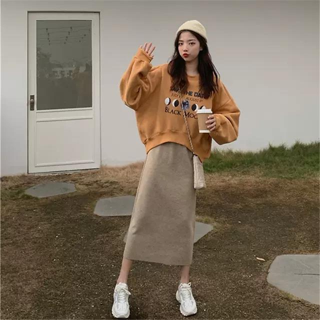 新款早秋季大碼女装卫衣兩件套装时尚背心連衣裙(F廠)
