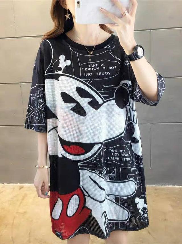網眼卡通米奇T恤裙