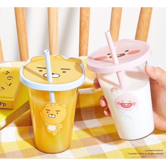 韓國 大創 x kakao friends聯名 RYAN 吸管造型水杯-桃子一組