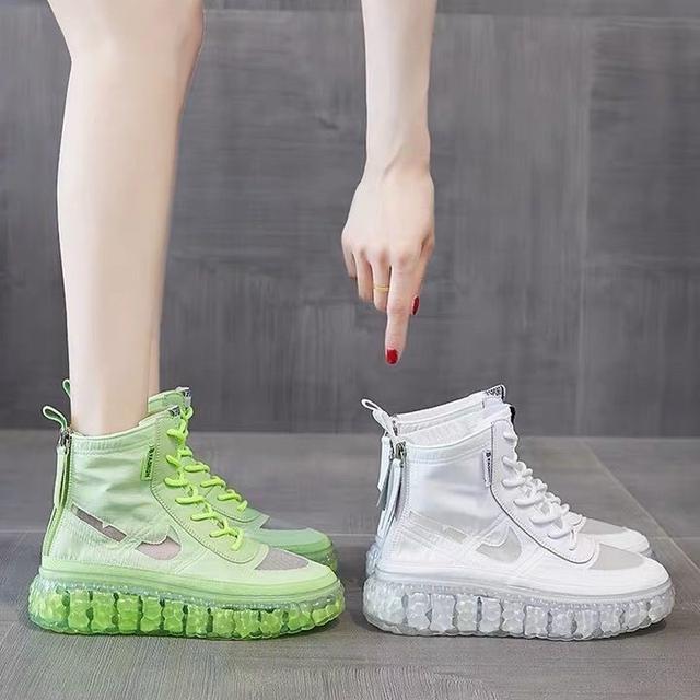 網紗馬丁靴子女夏季薄款2020新款透氣鏤空高幫鞋厚底夏天短靴網靴
