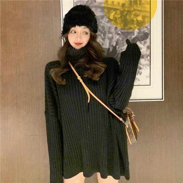 B 12/11 港味高領加厚寬鬆毛衣 (2色)