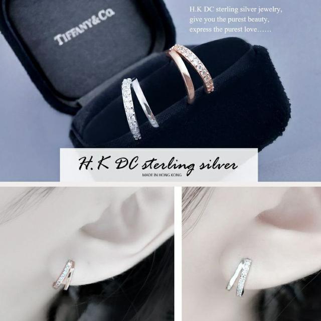 H.KDC925純銀-《韓劇最前線-夫妻的世界風格》專櫃精品雙半圓鋯石耳環(玫/銀)