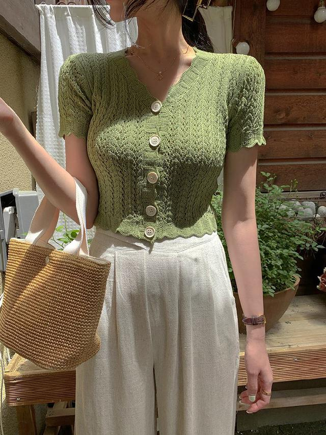 A復古V領針織鉤花鏤空開衫上衣(5色)