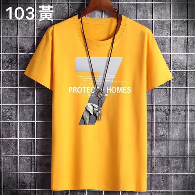 (103系列)100%純棉短袖T恤男士夏季2020新款韓版潮流寬松體恤衫上衣男衣服