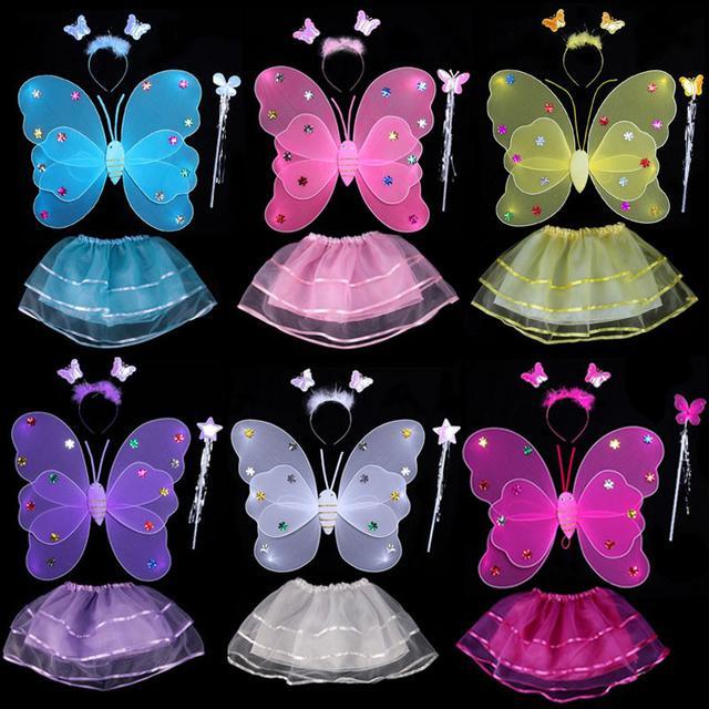 預購背發光天使蝴蝶翅膀兒童奇妙仙子道具 裙+魔法棒)(舞)