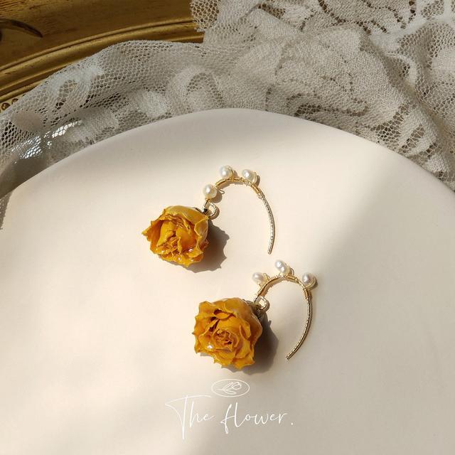 [永生花]@溫柔復古玫瑰花真花耳環女森系設計感淡水珍珠手作耳飾