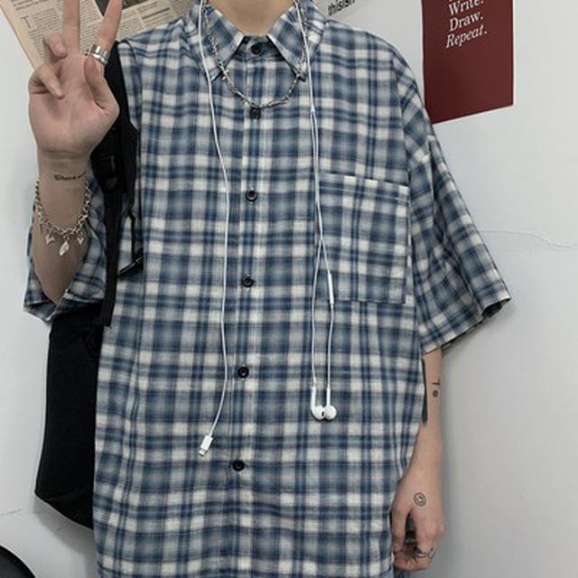 0615 M-XL 男女款 日系格子純棉短袖襯衫