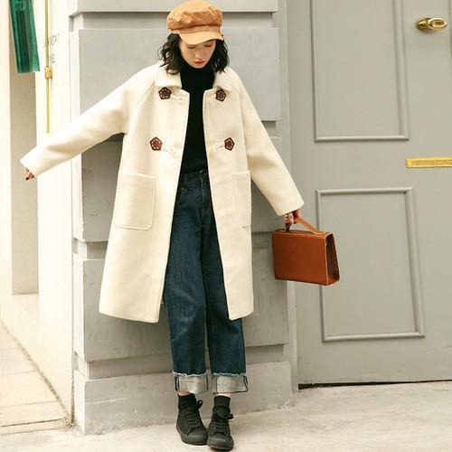 11 鬆馬海毛呢子羊角扣大衣外套(2色)