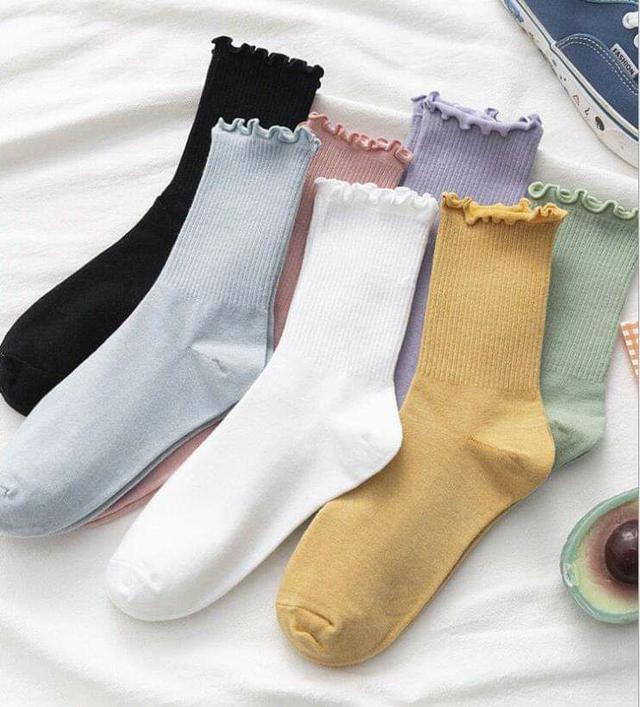 (預購S) B027 - 出口日本秋冬木耳邊堆堆中筒襪(一組5雙)