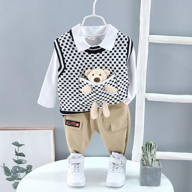 兒童裝男童春秋新款套裝韓版格子針織馬甲口袋小熊毛衣三件套批發