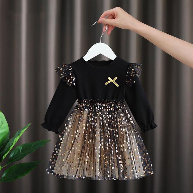 女寶寶連衣裙秋裝兒童女童蓬蓬裙子超仙洋氣小女孩網紗公主裙