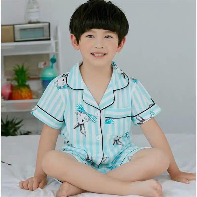 兒童睡衣夏季短袖棉質寶寶薄款家居服套裝夏LSJ19073006