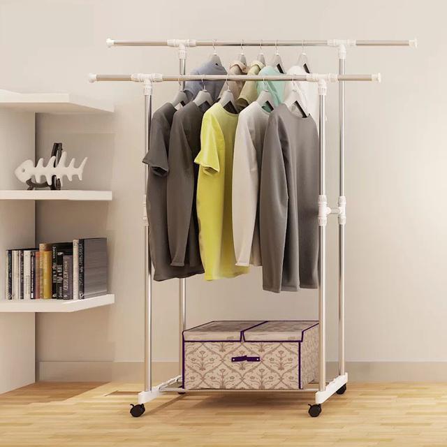 雙杠晾衣架 落地升降伸縮折疊晾衣架 室內家用雙杆式曬衣架