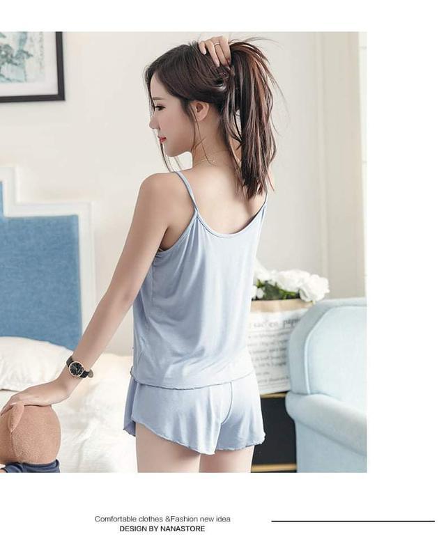 (預購S) K274 - 牛奶絲細肩帶睡衣睡褲二件套