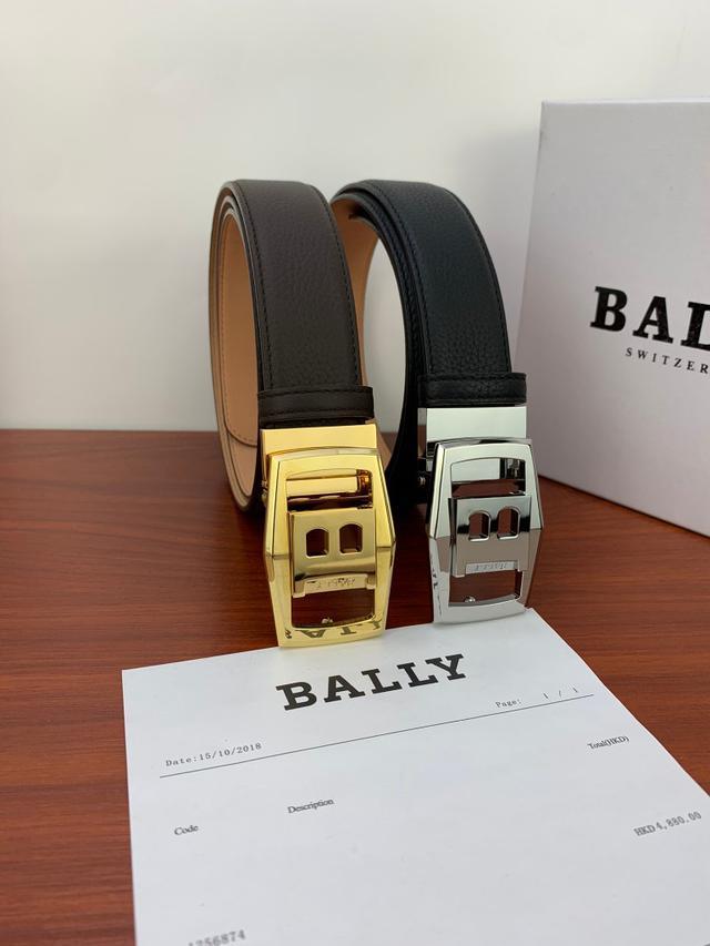 【精選禮品】BALLY皮帶 巴利腰帶  頭層牛皮帶身純鋼扣男士腰帶 商務皮帶