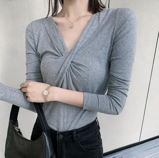 A 12/4 S-L 性感交叉V領打底T恤(2色)