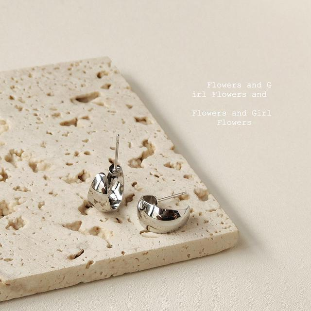 S925銀針C形光面耳釘女日韓時尚冷淡風簡約氣質耳環耳飾