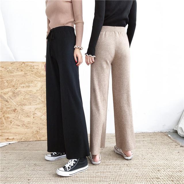 B 12/11 加厚寬鬆針織闊腿褲 (2色)