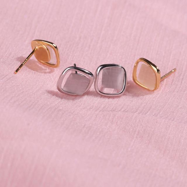 S925純銀方形貓眼石耳環幾何氣質冷淡風輕奢感耳飾2021新款潮