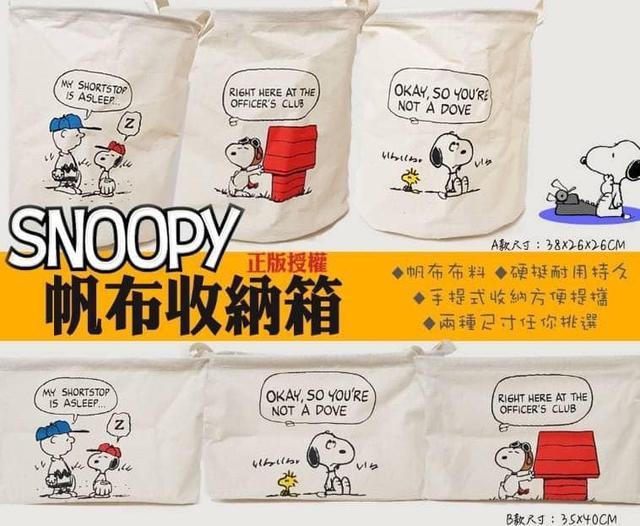 正版授權Snoopy耐用耐看帆布收納箱