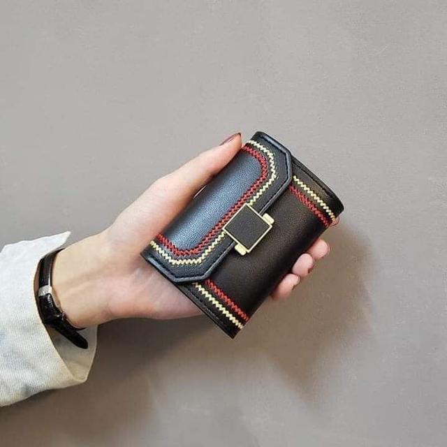 編織縫線風琴卡包短夾
