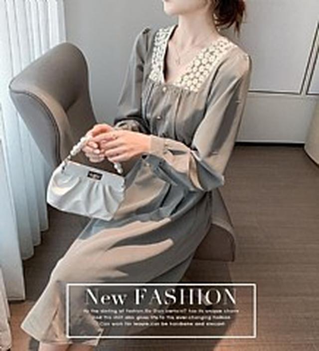 SM5630春裝新款 法式田園花邊拼接連衣裙(2色)