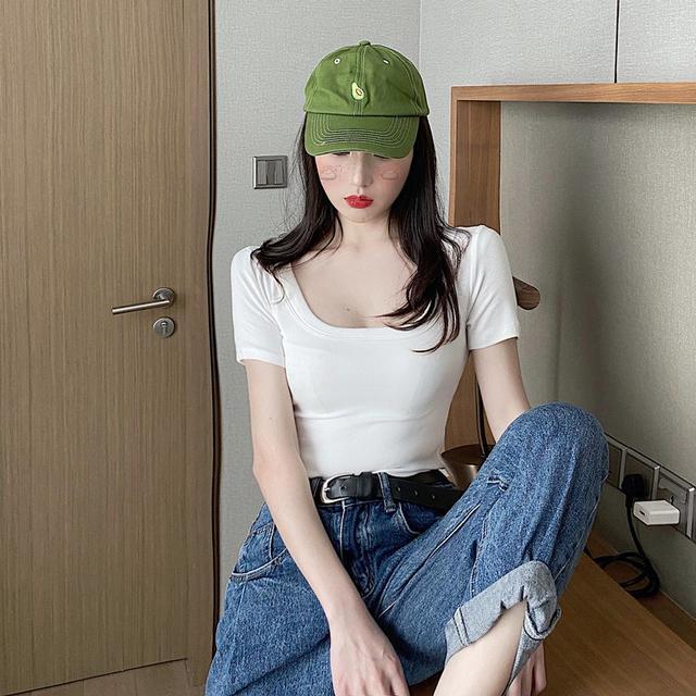 【預購】夏季新款 緊身修身低胸顯瘦上衣