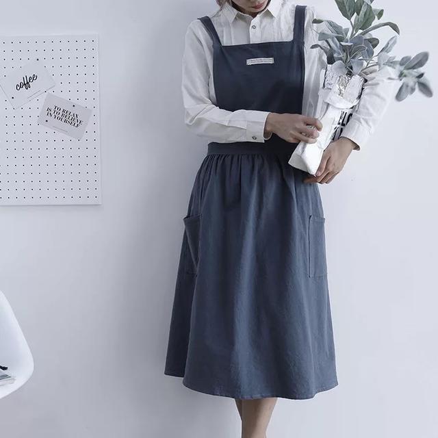 韓式綁帶圍裙 百褶裙式圍裙 水洗棉圍裙 防塵 防油 畫畫圍裙 工作服