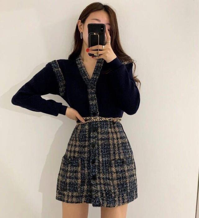 韓國優雅小香風毛呢單排扣連衣裙(附金色腰鍊)