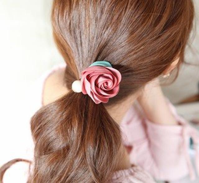 玫瑰花布藝髮圈
