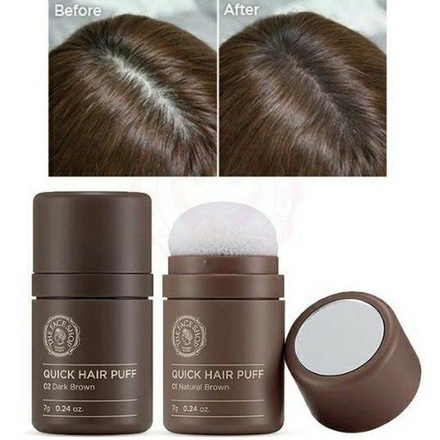 韓國 The Face Shop 自然遮色氣墊髮粉 7g 淺棕色 / 深棕色