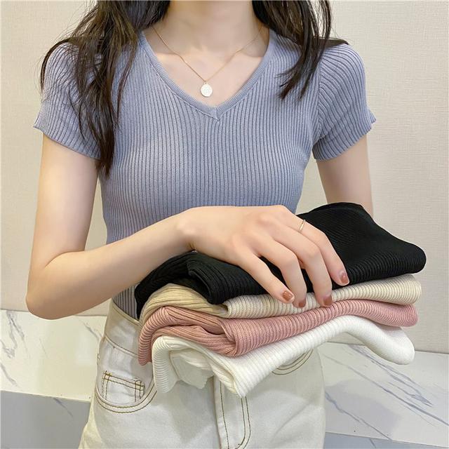34961  簡約修身顯瘦V領純色針織衫