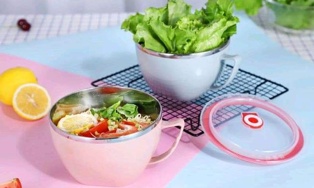 (預購S) 北歐風不鏽鋼帶密封蓋防燙泡麵杯碗