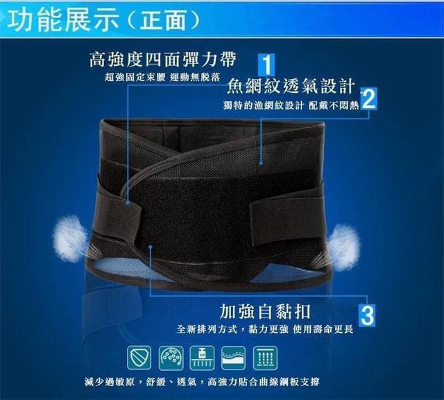3D網狀透氣 4點支撐固定 護腰帶