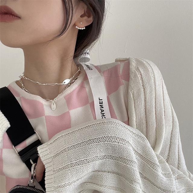 並排圓珠後掛式925純銀耳釘時尚個性氣質潮流女韓國ins風精緻飾品