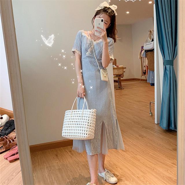 藍色格子氣質拼接連衣裙